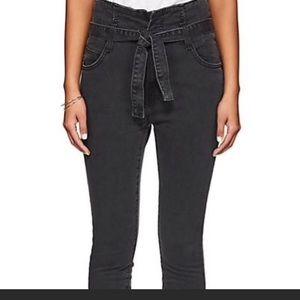 Current Elliot paper bag tie waist jeans 27 black